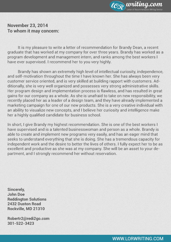 professional business school recommendation letter sample