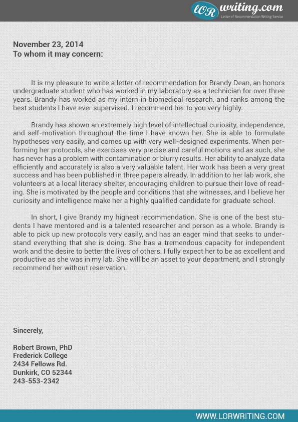 Sample Letter of Recommendation for Graduate School by lorwriting.com