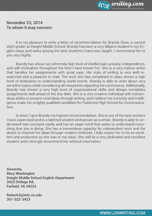 Sample letter of recommendation for high school student thecheapjerseys