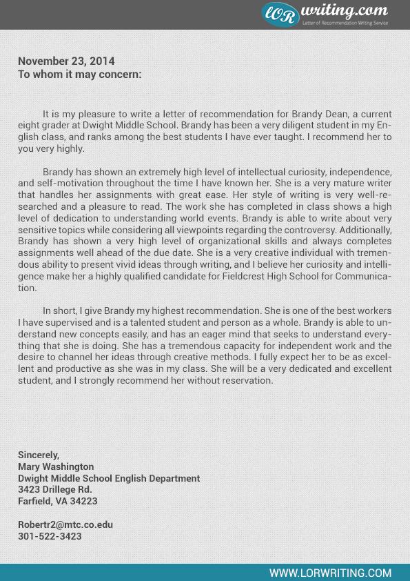 Sample Letter of Re mendation for High School Student
