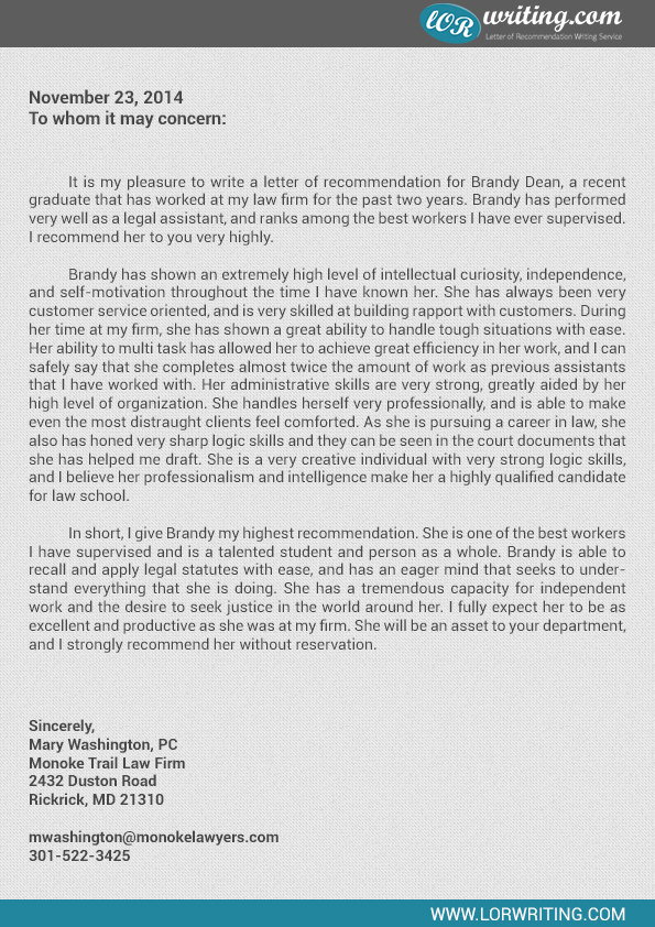 law school letter of recommendation professional school letter of recommendation sample 11618 | law school letter of recommendation sample