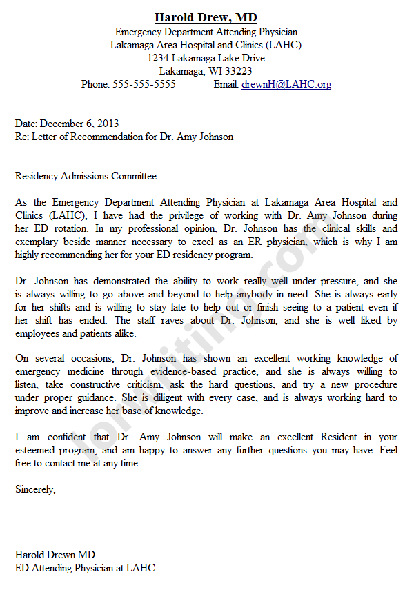 Professional Residency Letter of Recommendation Sample | LoR Writing