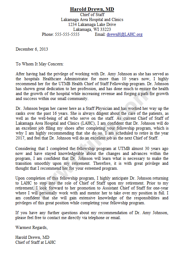 sample of recommendation letter