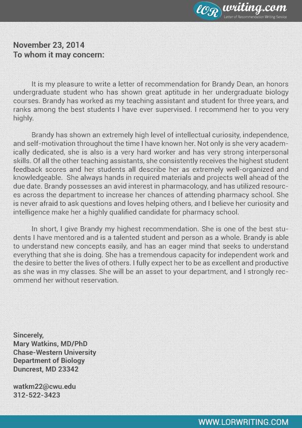 pharmacist letter of recommendation – Pharmacist Letter Template