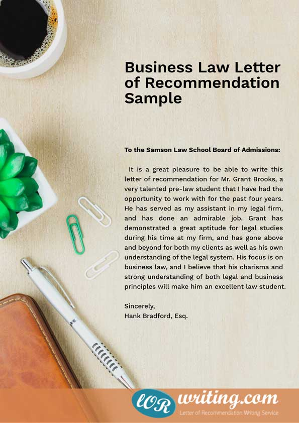 letter of the law professional school letter of recommendation sample 23099 | Business Law letter of recommendation sample