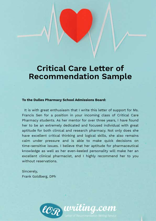 Critical Care Pharmacy letter of recommendation sample