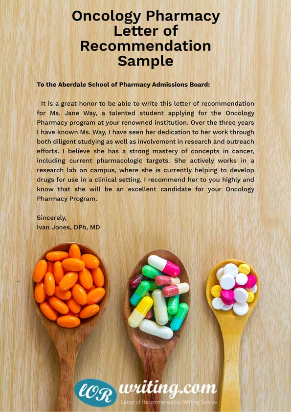 Oncology Pharmacy letter of recommendation sample