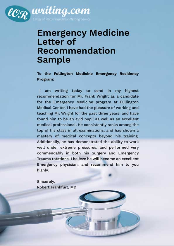 Professional Medical School Letter Of Recommendation Sample