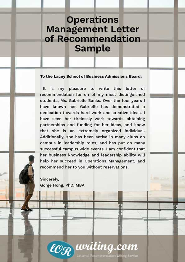 operations management letter of recommendation sample