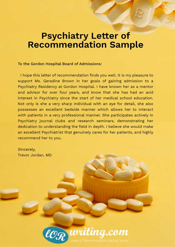 psychiatry letter of recommendation sample