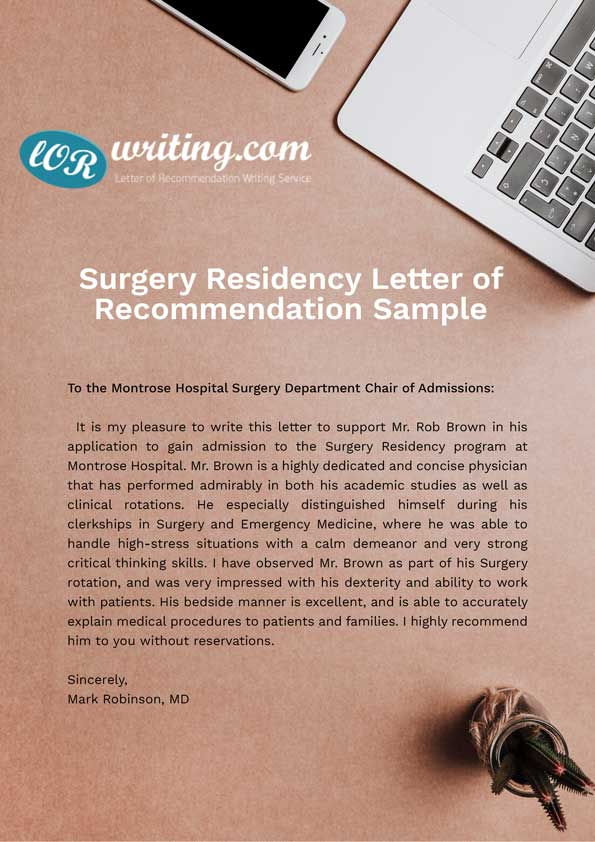 surgery-residency-letter-of-recommendation-sample Residency Application Letter on example notarized, thank you, blank proof,