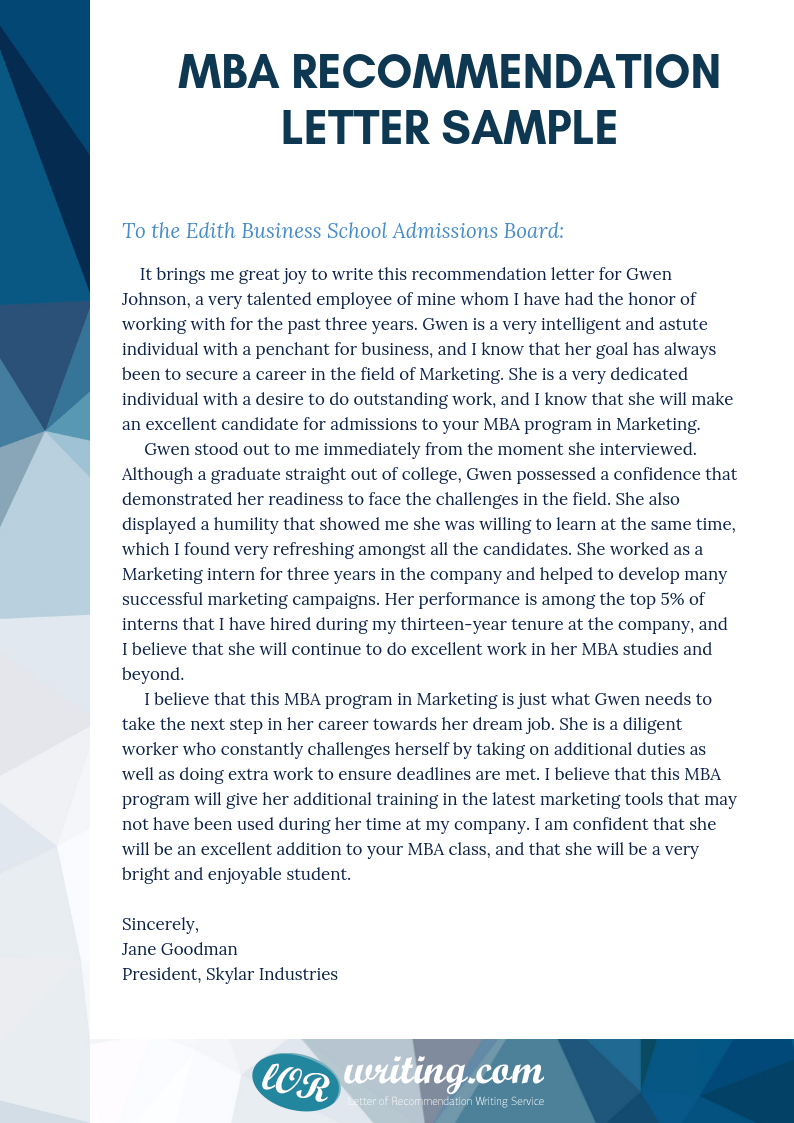Professional Sample MBA Recommendation Letter