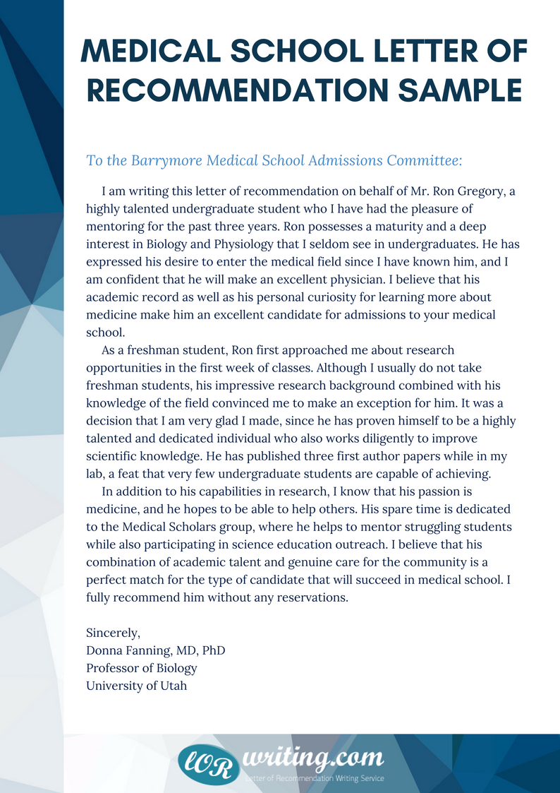 Professional Medical School Recommendation Letter Example