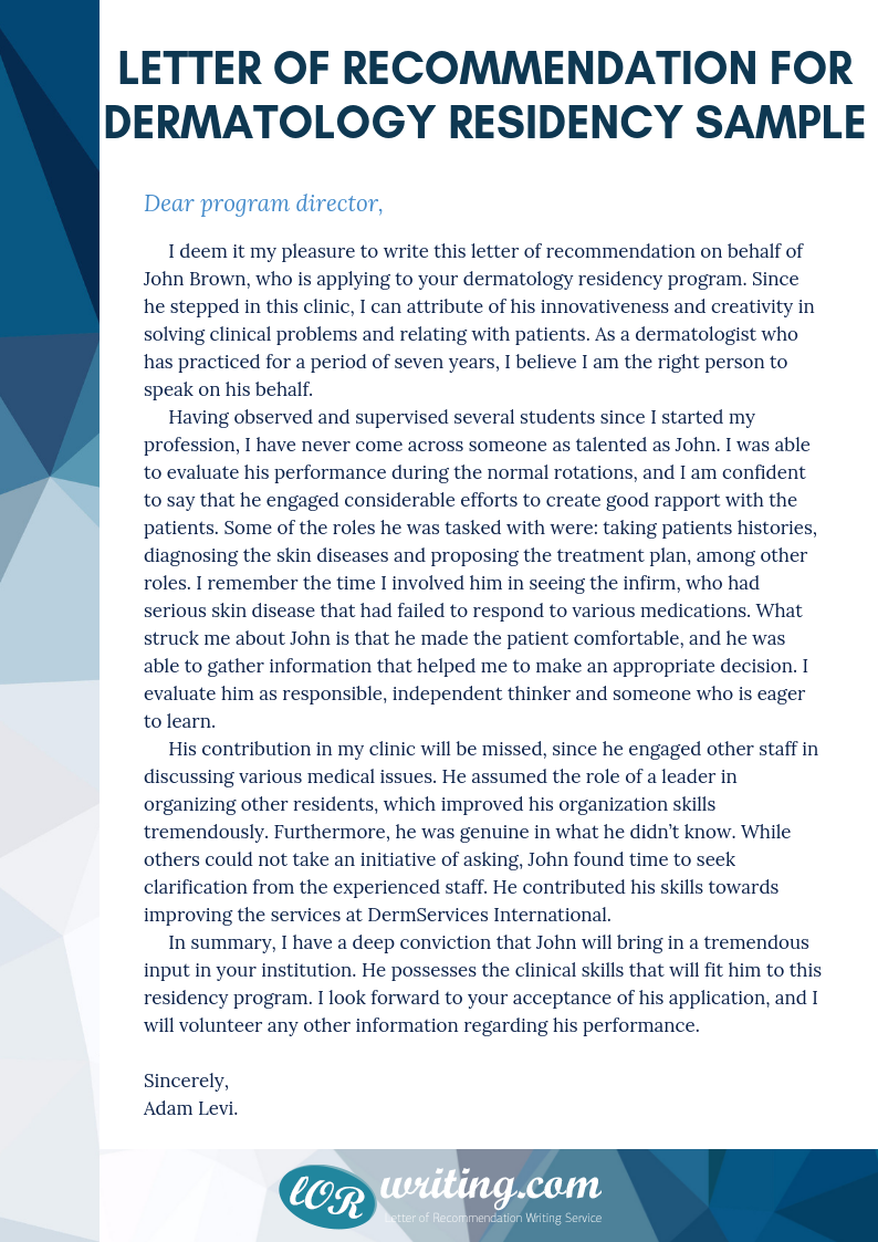 sample letter of recommendation for dermatology residency