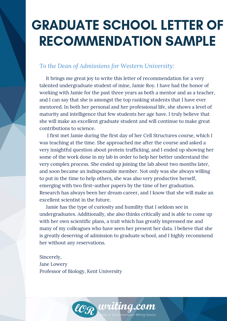 professional sample letter of recommendation for graduate
