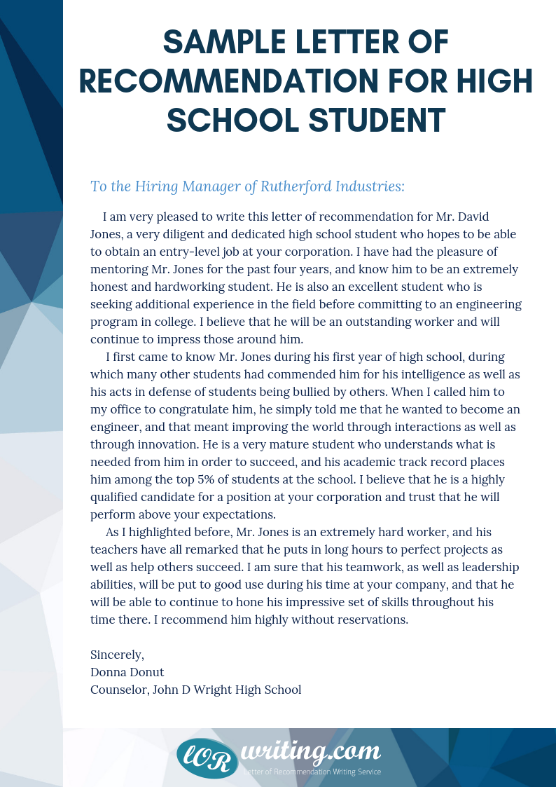 How to write a letter of recommendation for a high school student for a scholarship
