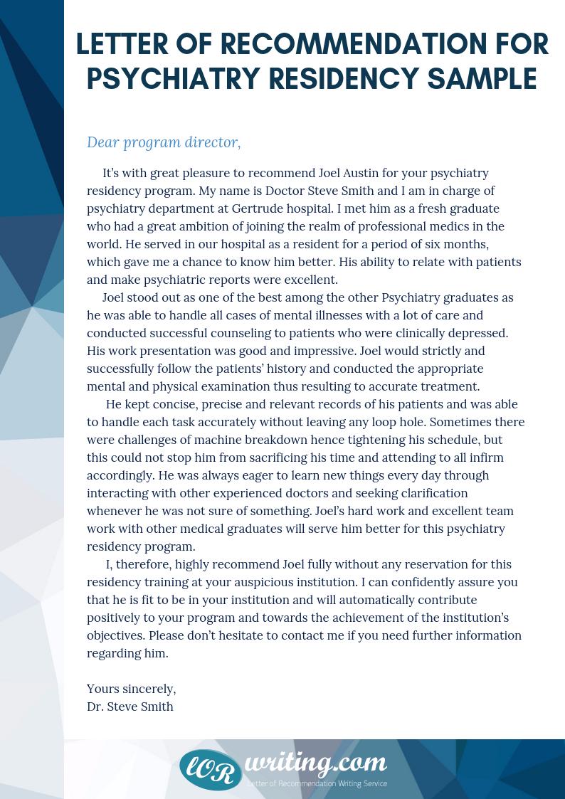 sample letter of recommendation for psychiatry residency