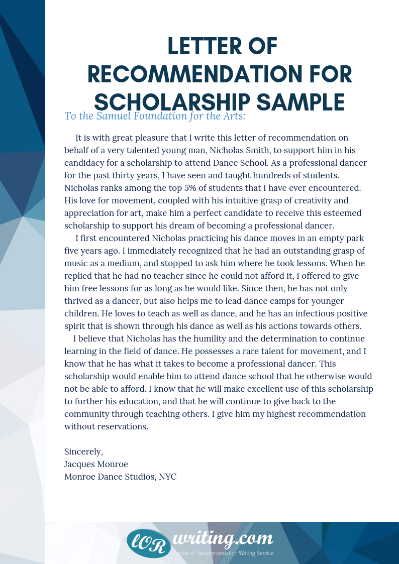 professional help with letter of recommendation for